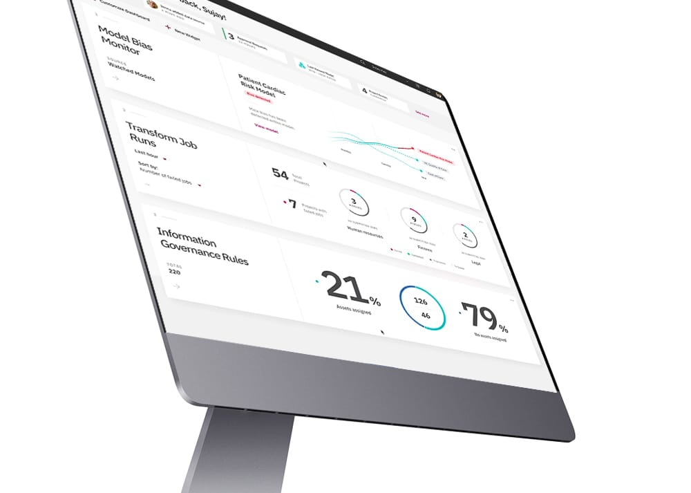 Image of a computer monitor displaying the IBM Cloud Private for Data dashboard