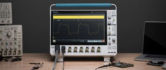 Image showing a Tektronix, Mixed signal oscilloscope, electronic device with many buttons and ports