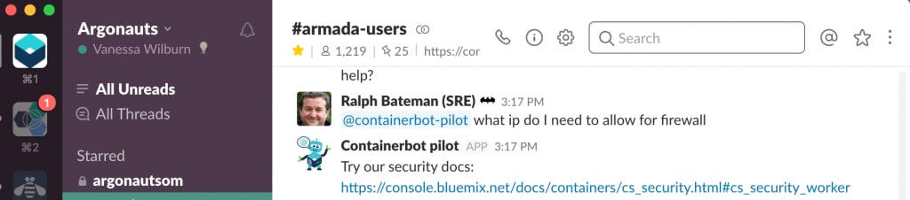 Caption: Containerbot responds to a question in Slack