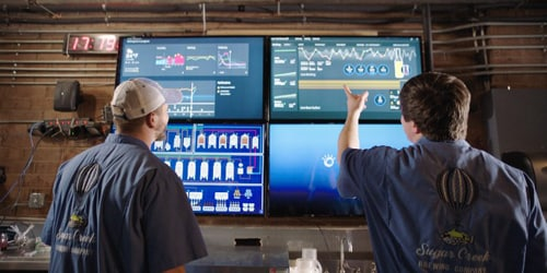 Sugar creek brewery: two man pointing to monitors