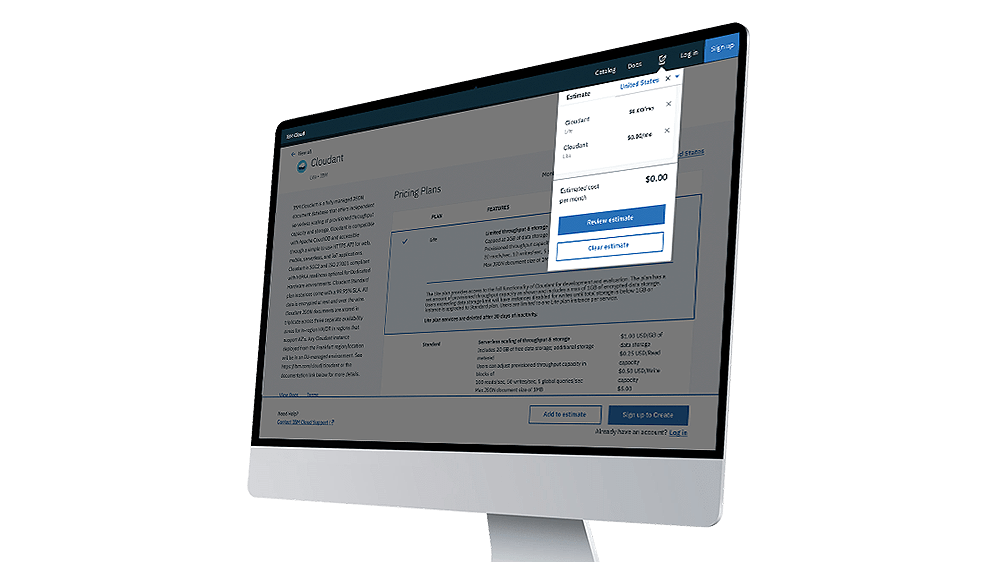 User interface for the Cloud cost estimator