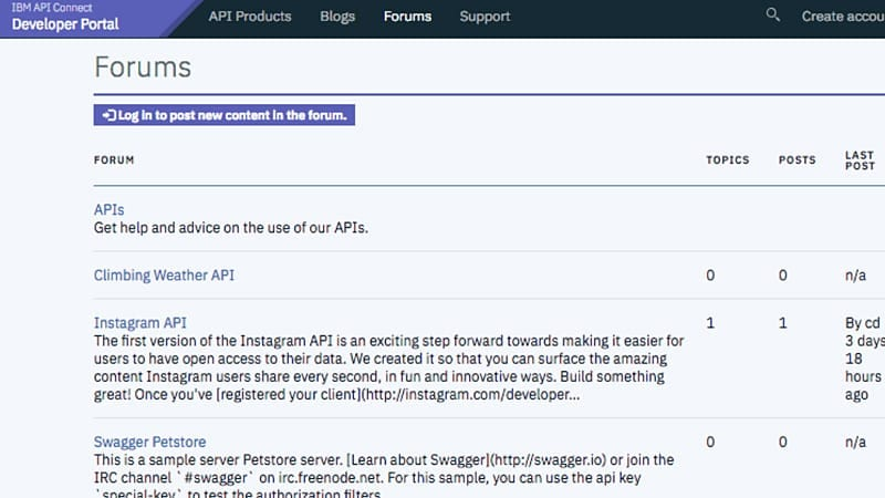 Create an API community with forums and broad support