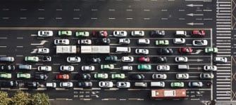 aerial view of some car traffic