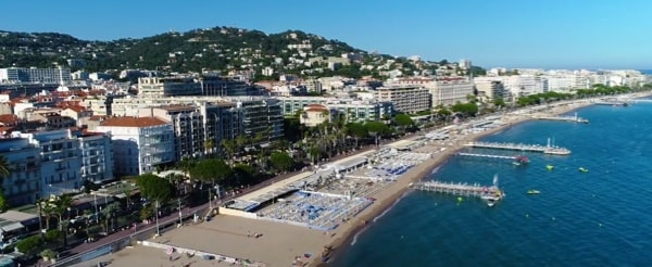 Cannes beach aerial view