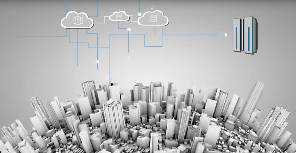 Get the cloud and your mainframe working together with IBM MQ on Cloud as depicted in this video and thumbnail showing urban topography with technology clouds and mainframes connected above