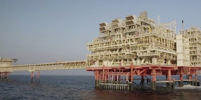 Large oil rig located in the water