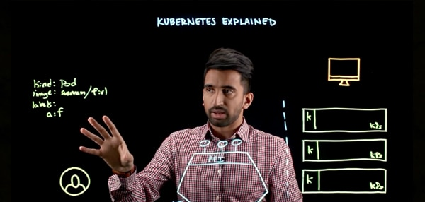 Man using whiteboard to explain Kubernetes