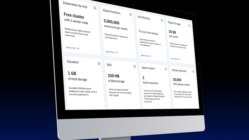 Monitor showing IBM Cloud free tier offerings