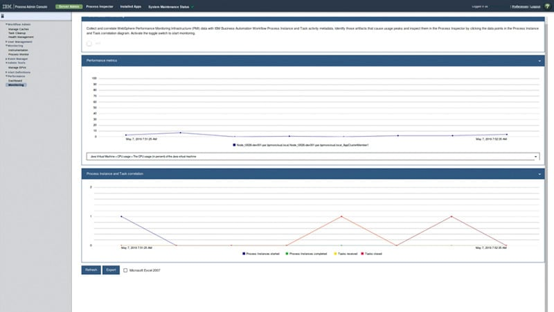 Screenshot of Business Automation Workflow process admin console