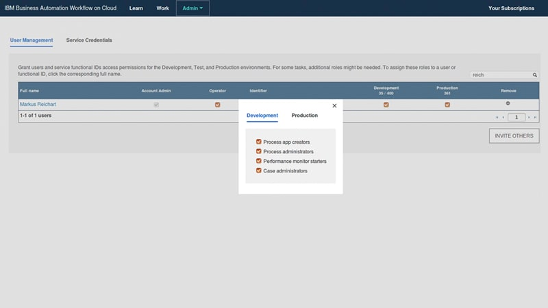 Captura de pantalla de las opciones de roles de usuario de Business Automation Workflow