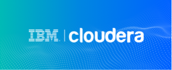 A combined graphic showing the IBM logo with the Cloudera logo.