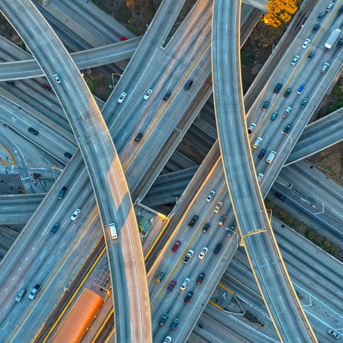Network of busy highway infrastructure