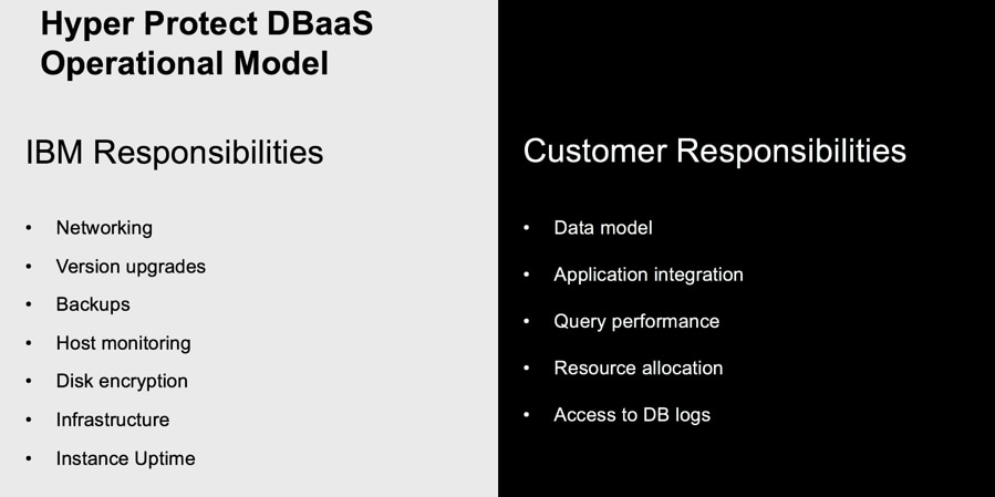 IBM Cloud Hyper Protect DBaaS operational model
