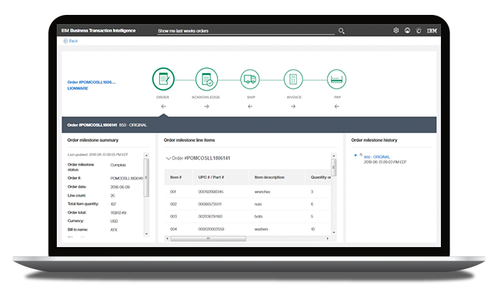 IBM Sterling Supply Chain Business Network product dashboard