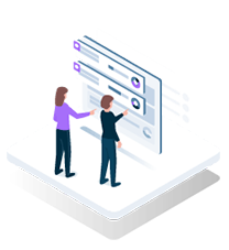 Isometric graphic depicting business professionals reviewing a data dashboard