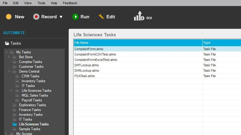 Screenshot showing the list of task folders