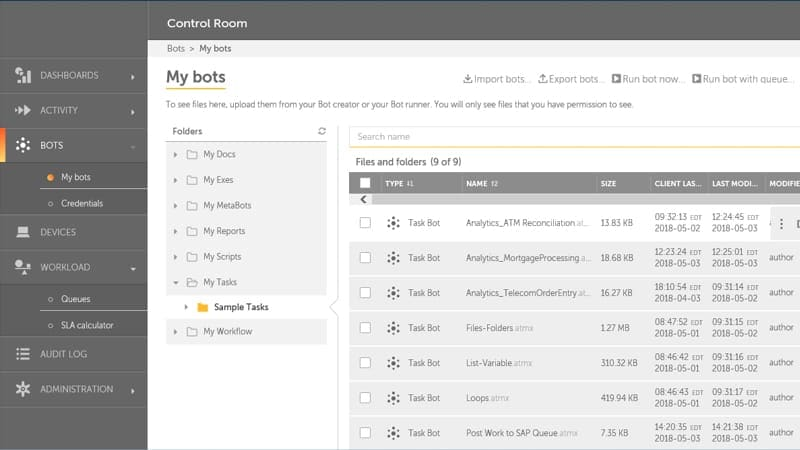 Screenshot showing the My bots screen