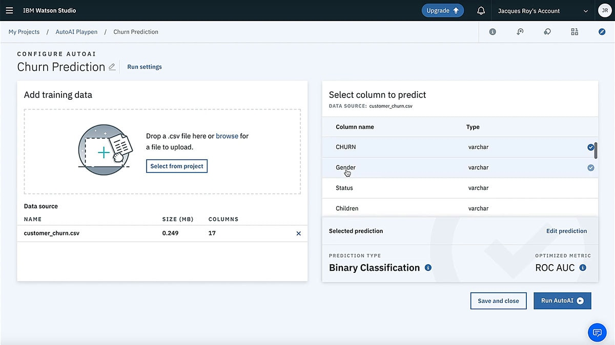 Screen capture showing Churn Prediction within IBM Watson Studio