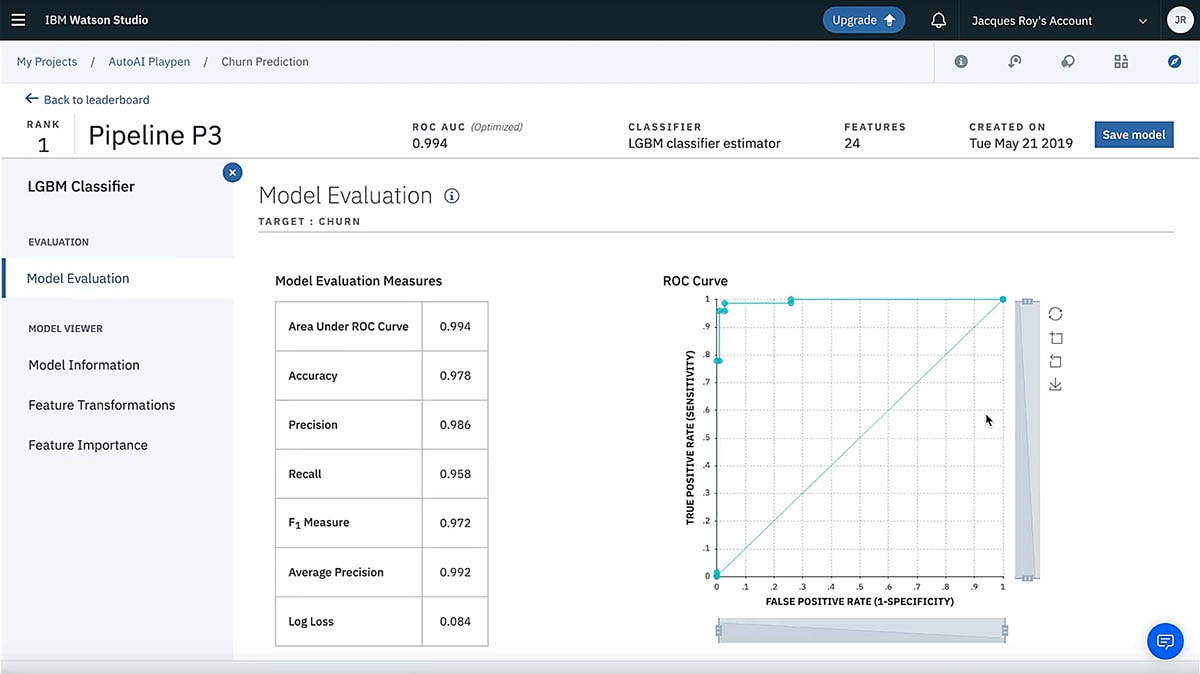Screen capture showing Model Evaluation within IBM Watson Studio