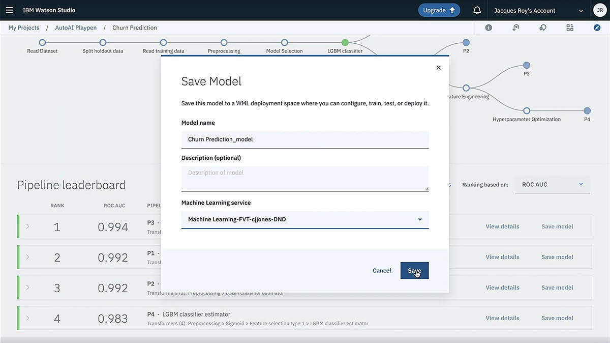 Screen capture showing how IBM Watson Studio uses one-click deployment to link with Watson Machine Learning