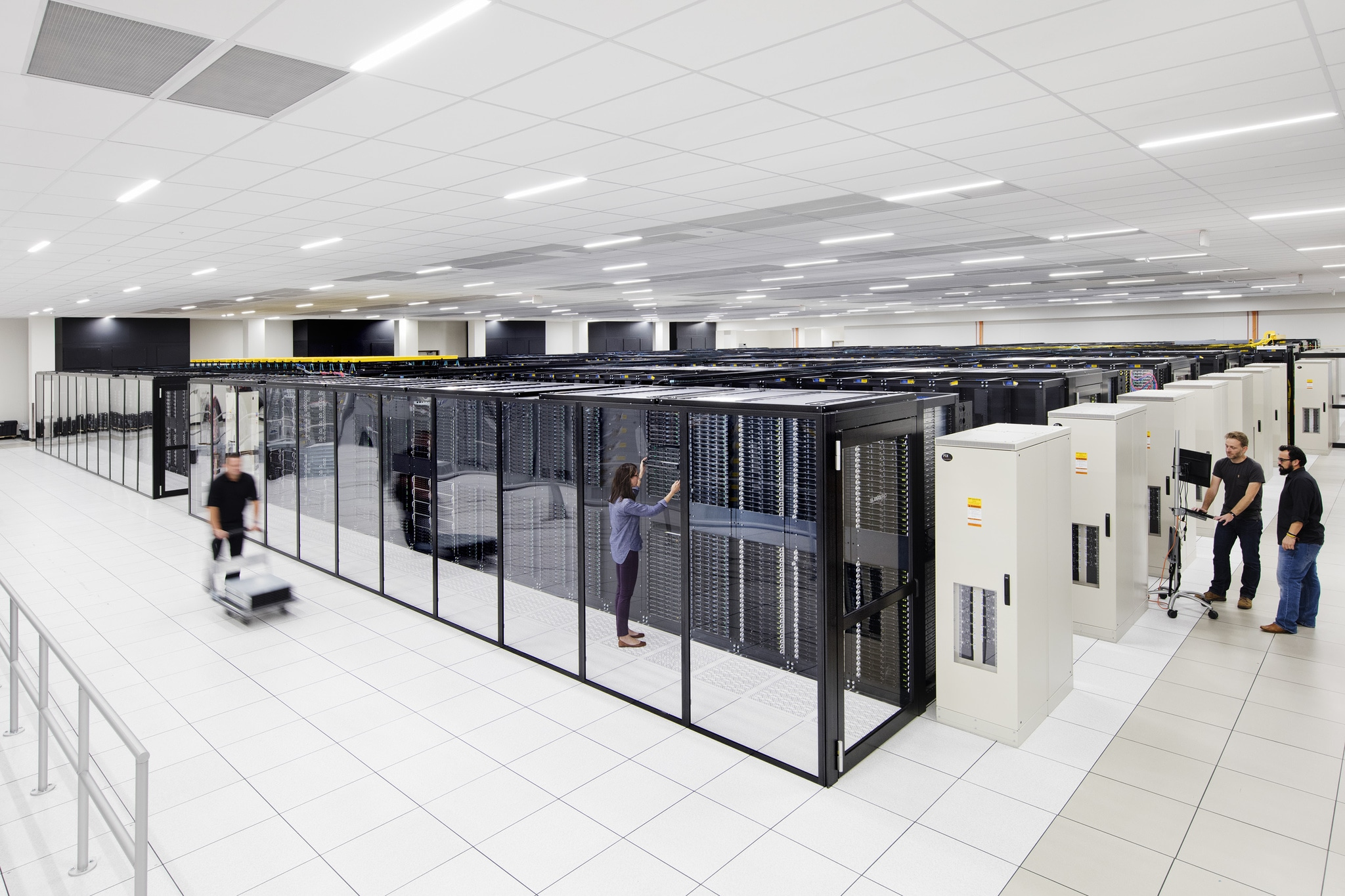 Employees in an IBM Cloud data center.