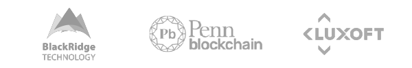 Logos of BlackRidge Technology, Penn Blockchain and Luxoft