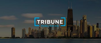 Tribune Publishing Company logo over Chicago skyline
