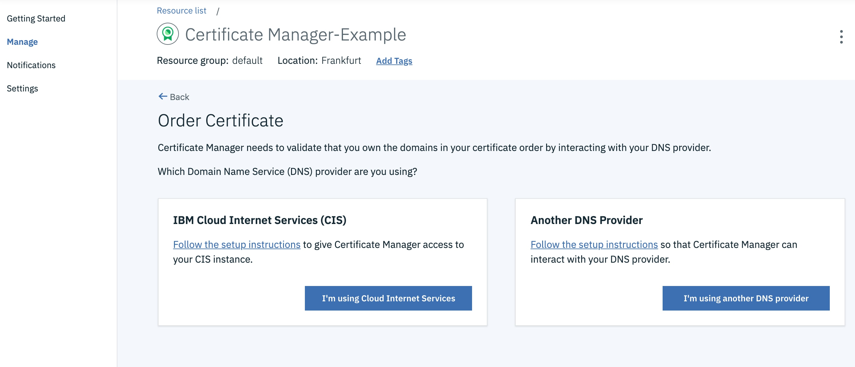 Certificate Manager Example