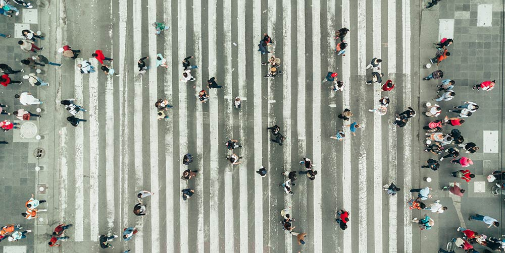 people on a busy street