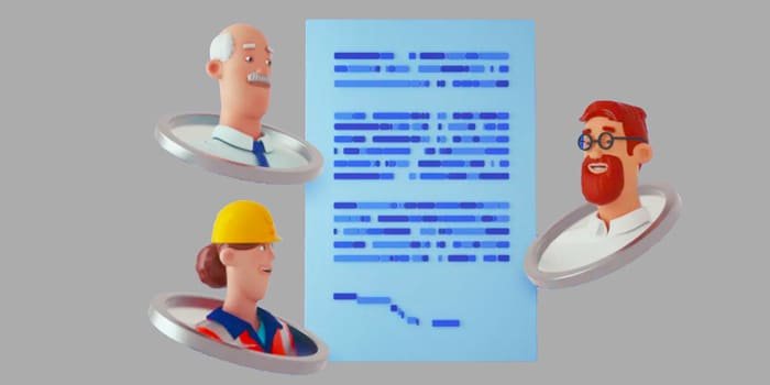Animation of three workers and a contract