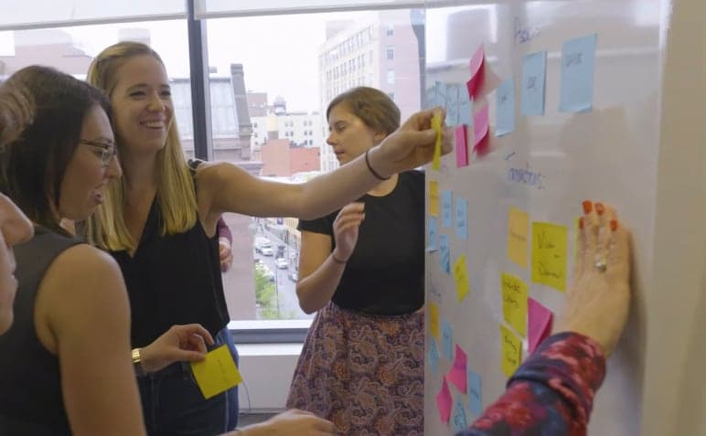 women working and putting post-its on a whiteboard