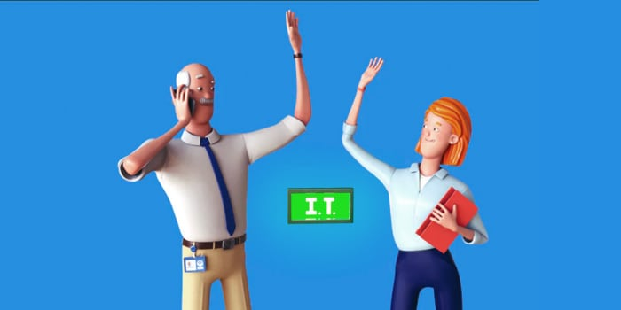 Animation of a man and a woman giving a high-five