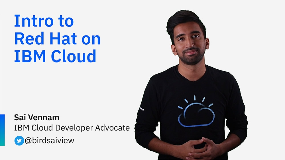 Título de la diapositiva de introducción a Red Hat en el vídeo de IBM Cloud