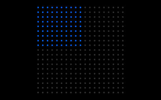 Blue and gray dots on a rectangular grid