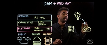 Representation of Sai Vennam's overview of how IBM and Red Hat work together to satisfy users with new flexibility and capabilities using hybrid open cloud