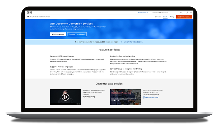 une page Web affichant les détails du produit IBM Sterling Document Conversion Services