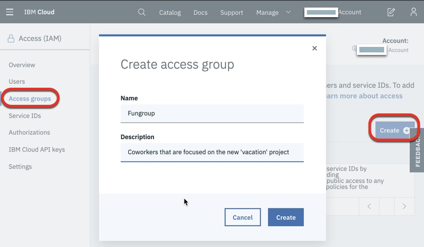 Click on Create to create a new group, and give it the name Fungroup