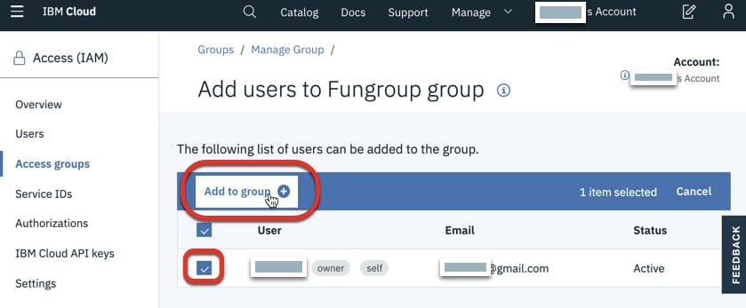 Under Add users to Fungroup group, check someone to add, and click Add to group