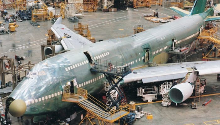 an airplane being manufactured