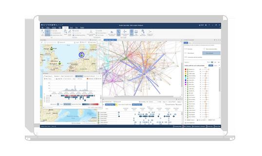 laptop displaying IBM i2 Enterprise Insight Analysis interface