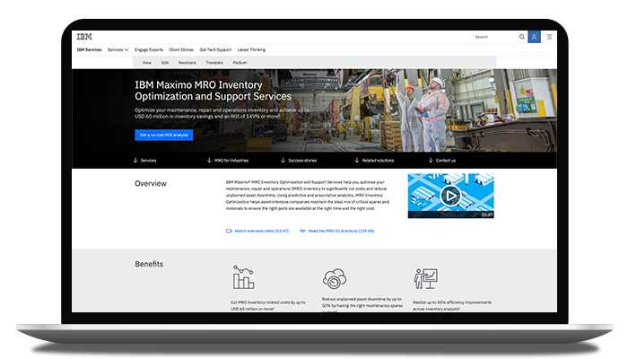 Captura de pantalla de una página web que muestra los servicios de IBM Maximo MRO Inventory Optimization and Support
