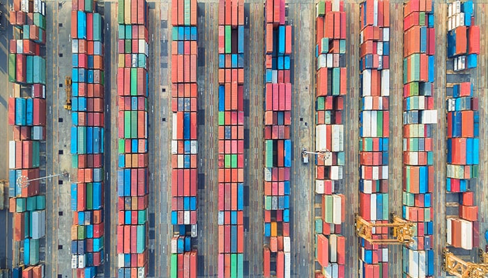 An aerial view of multicolored shipping containers