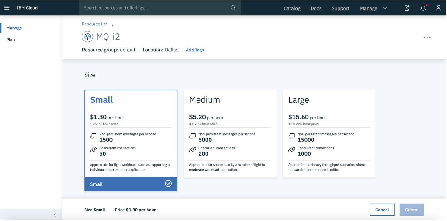 Screenshot showing the queue manager size selection screen in IBM MQ