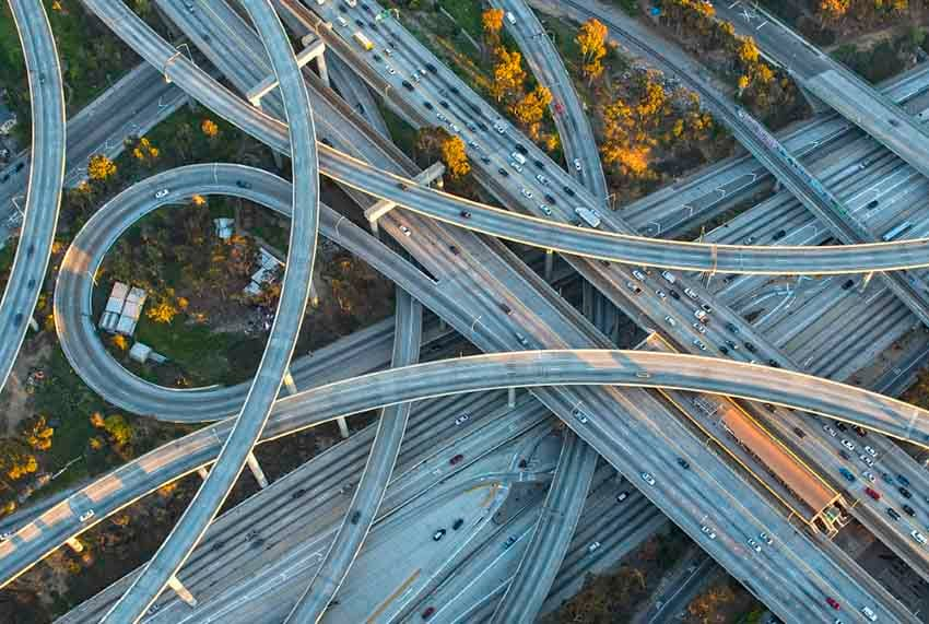 Freeway interchange system of roads representing IBM application hosting with dedicated bare metal servers