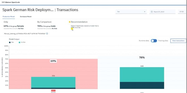 Screenshot of transaction results
