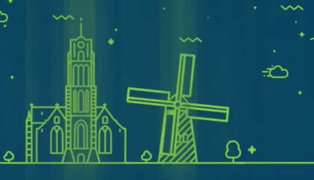 Green figure drawing of windmill and church on a blue background representing Dutch Cloud