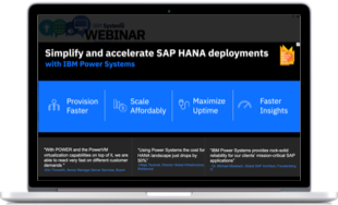 computer with a software screenshot for simplify and accelerate SAP HANA deployments