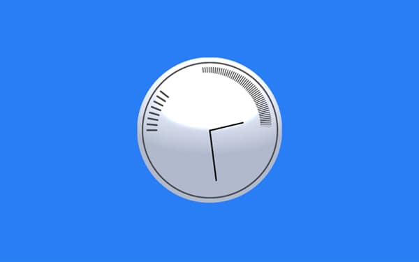 White clock on blue background