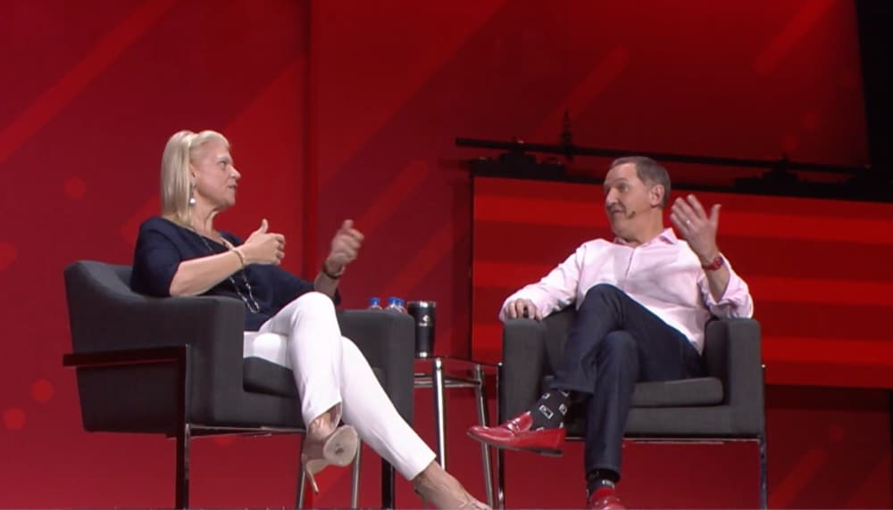 IBM CEO, Ginni Rometty and Red Hat CEO, Jim Whitehurst discussing about Red Hat