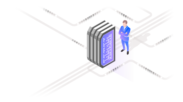 Cartoon of miniaturized man standing on computer grid looking at memory chip